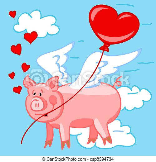 Flying Pig In Love Vector