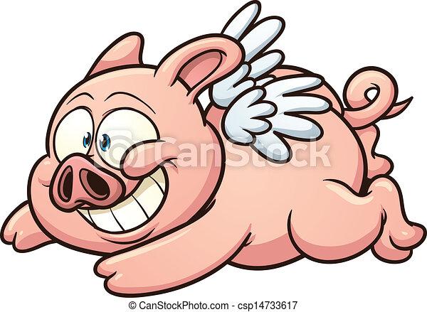 flying pig cartoon winged pig flying vector clip art illustration rh canstockphoto com flying pig clipart flying pig clipart