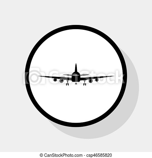 Flying Plane Sign Front View Vector Flat Black Icon In White Circle With