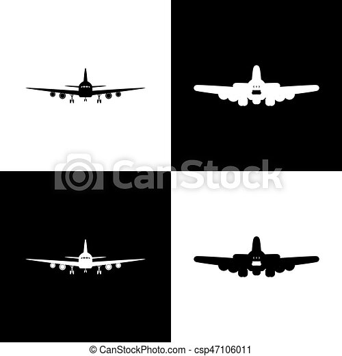 Flying Plane Sign Front View Vector Black And White Icons And
