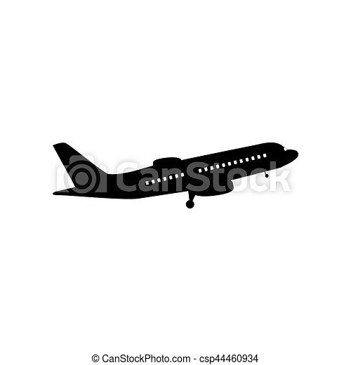 Flying Plane Sign Side View Flat Style Black Icon On White