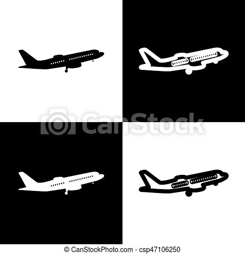 Flying Plane Sign Side View Vector Black And White Icons And Line