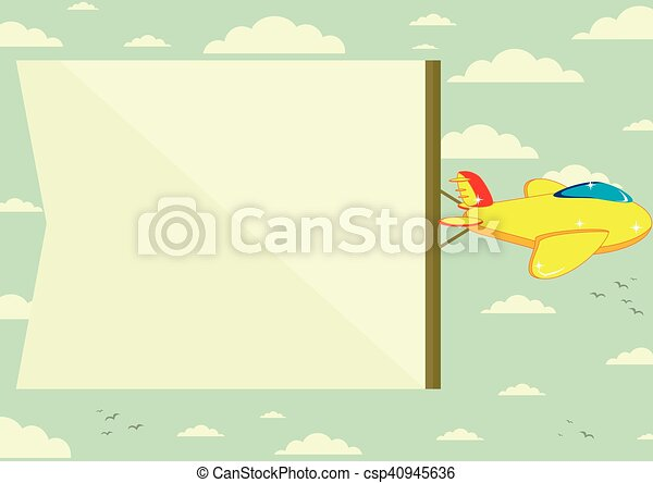 Flying plane with banner - csp40945636