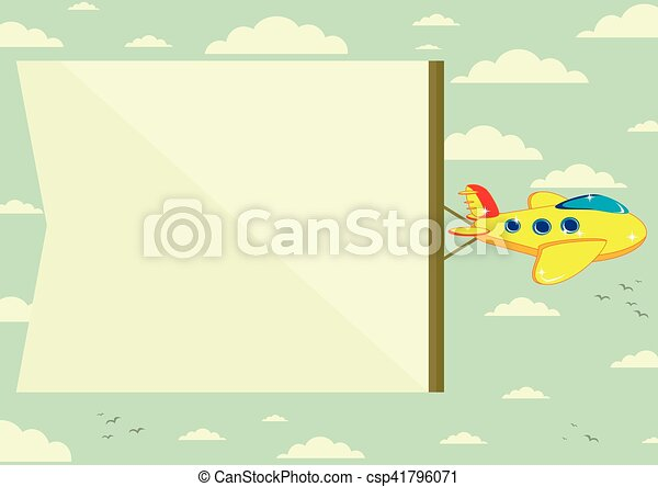 Flying plane with banner - csp41796071