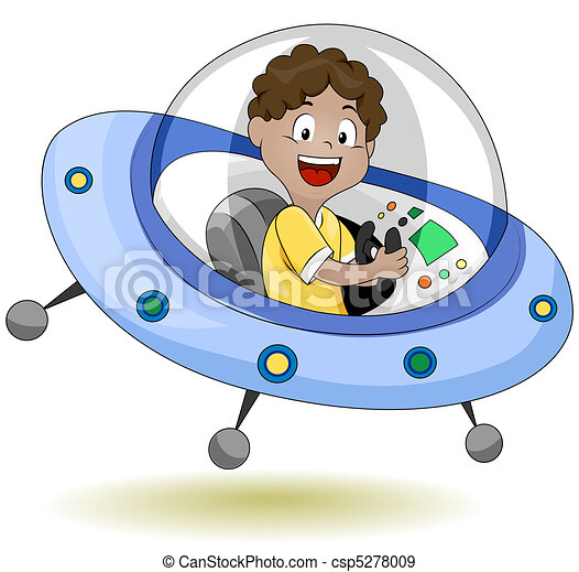 illustration of a little kid operating a flying saucer rh canstockphoto com UFO Clip Art flying saucer clipart black and white