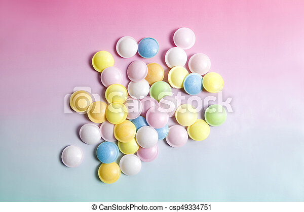 flying saucer multi coloured candy - csp49334751