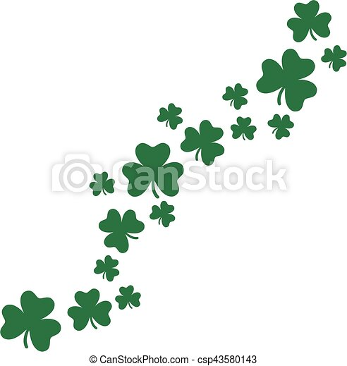 Flying shamrocks background - csp43580143