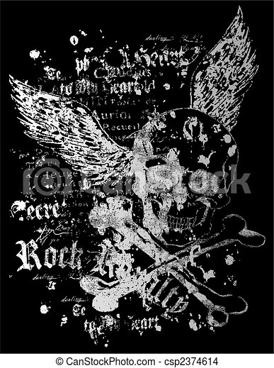 flying skull with rock style - csp2374614