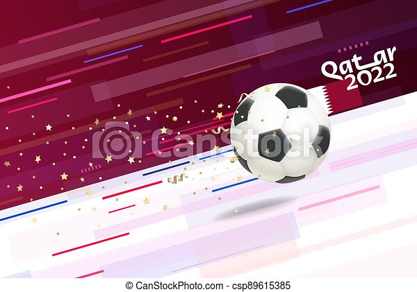 Flying soccer ball on abstract background - csp89615385