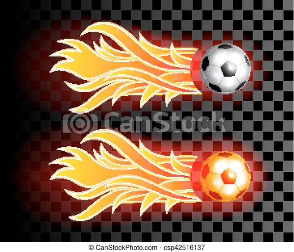Flying Soccer Ball With Red Fire Flames On Dark Transparent
