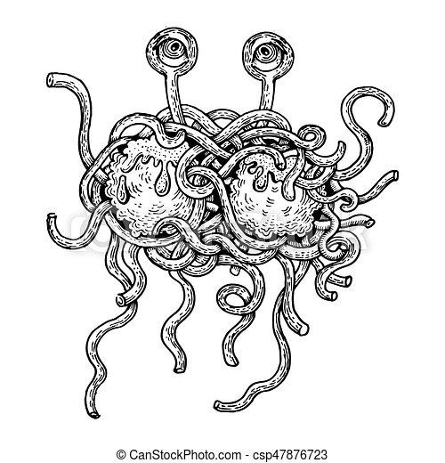 Flying Spaghetti Monster Engraving Style Vector Flying Spaghetti