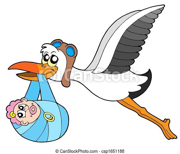 flying stork delivering baby vecotr illustration stock rh canstockphoto com free clipart stork carrying baby free clipart stork delivering baby