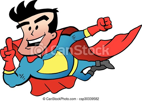 Flying Super Hero  - csp30339582