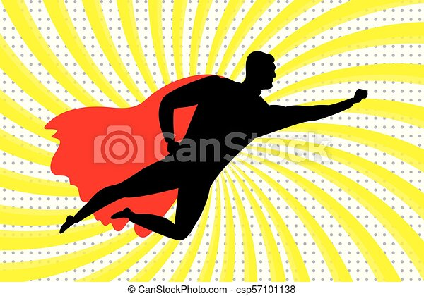 Flying Super Hero silhouette - csp57101138