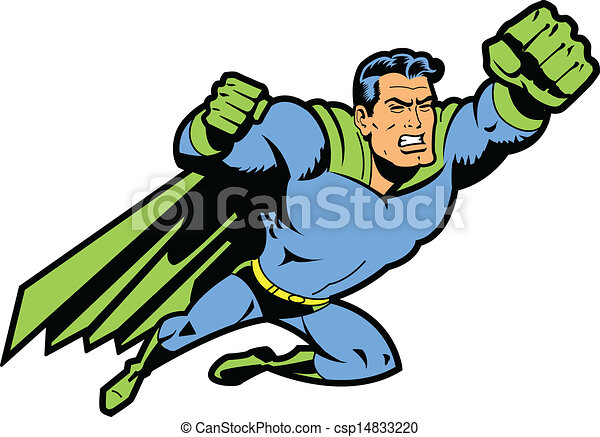 Flying Superhero With Clenched Fist - csp14833220
