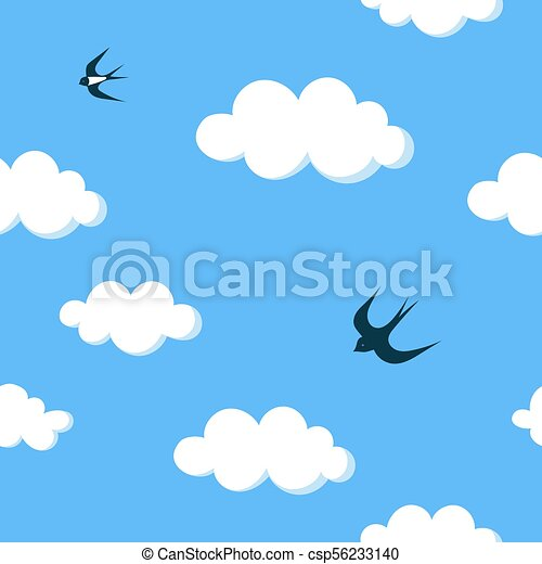 Flying swallows in the blue sky with white clouds seamless pattern - csp56233140
