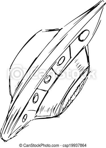 Hand Drawn Cartoon Sketch Illustration Of Flying Ufo