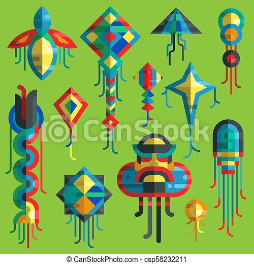 Flying vector kite toy sky snake serpent dragon kids toy colorful silhouette collection isolated outdoor summer activity illustration. Holiday childhood entertainment fly game kid snake design - csp58232211