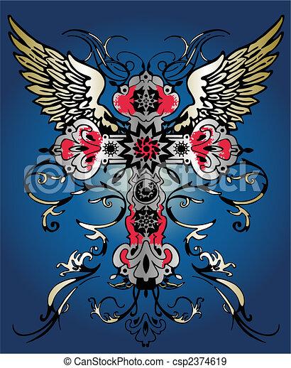 flying wing cross tribal heraldic emblem - csp2374619