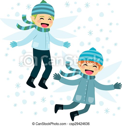 flying winter elves happy cute winter elves friends flying with
