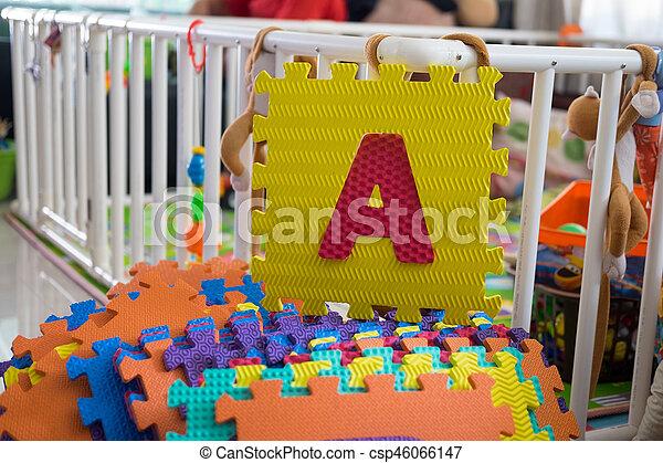 Foam alphabet puzzle pieces, A - csp46066147