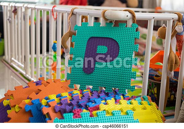 Foam alphabet puzzle pieces, P - csp46066151