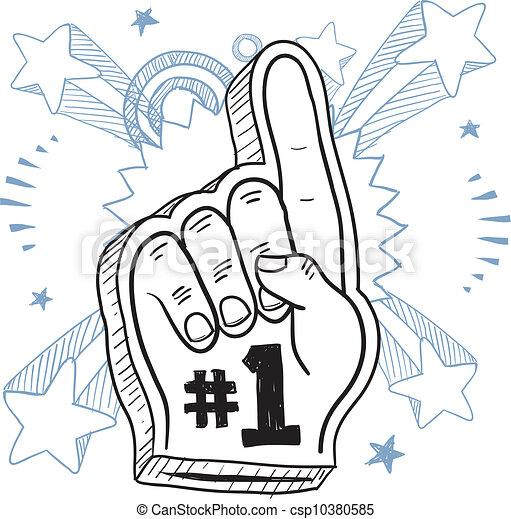Foam finger excitement sketch - csp10380585
