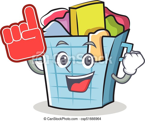 foam finger laundry basket character cartoon vector clip art rh canstockphoto com laundry basket clipart free