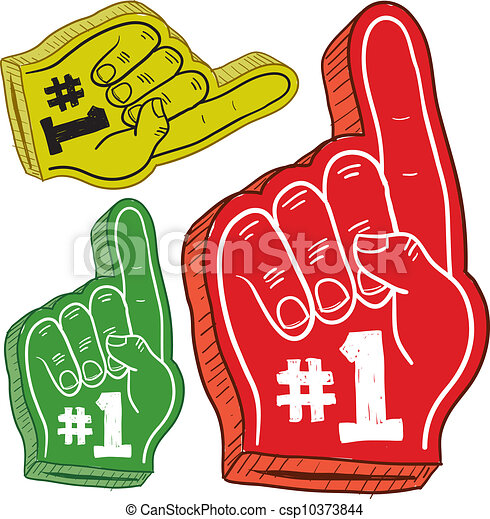 foam finger clipart. foam finger sketch - doodle style colorful fingers used. clipart m
