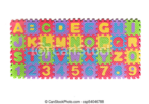 Foam puzzle numbers and letters - csp54046788