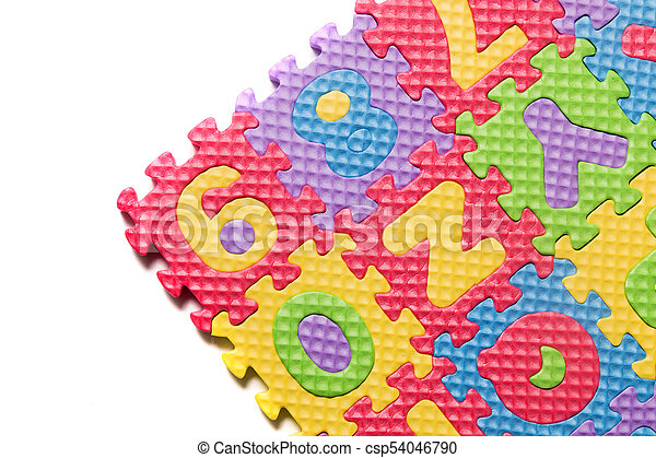 Foam puzzle numbers and letters - csp54046790