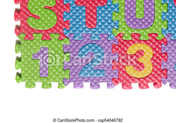 Foam puzzle numbers and letters - csp54046792