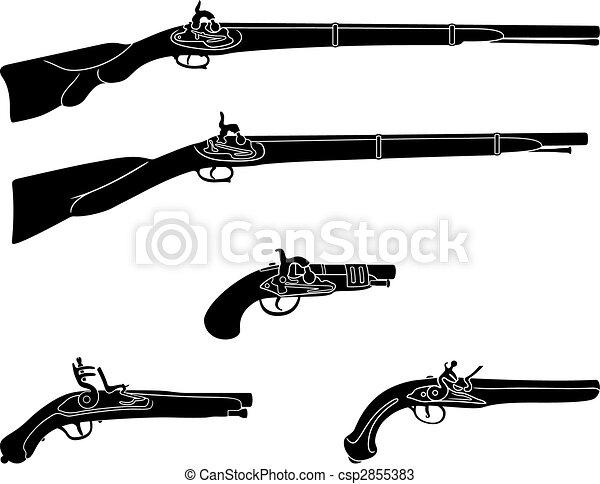 Focinho Carregando Armas Fogo Pistolas Antigas Silhuetas