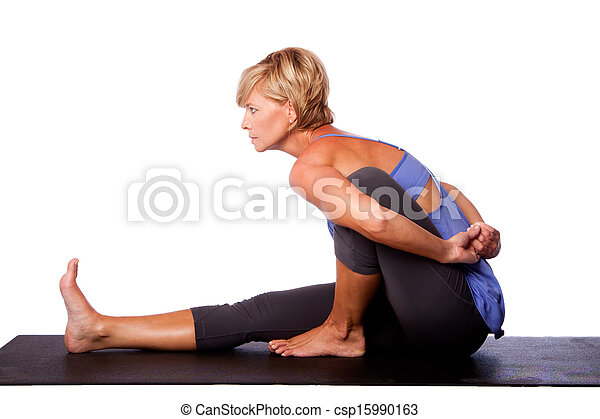 focus concentration in yoga beautiful woman in seated