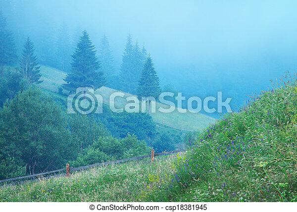 Fog in mountain - csp18381945
