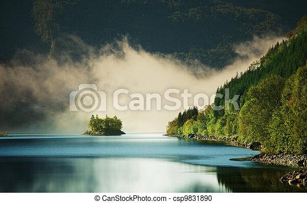 Fog on lake - csp9831890