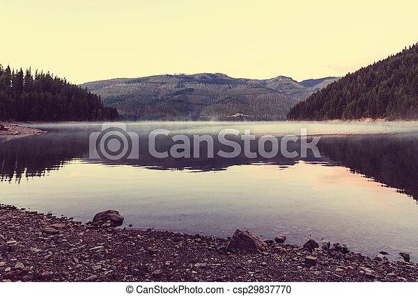 Fog on the lake - csp29837770