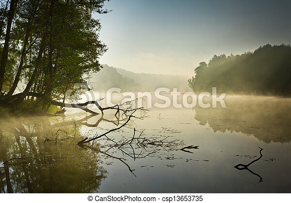 Fog over the lake at sunrise - csp13653735