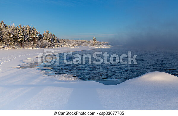 fog over the lake - csp33677785