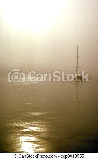 Fog Sailboat - csp0013555