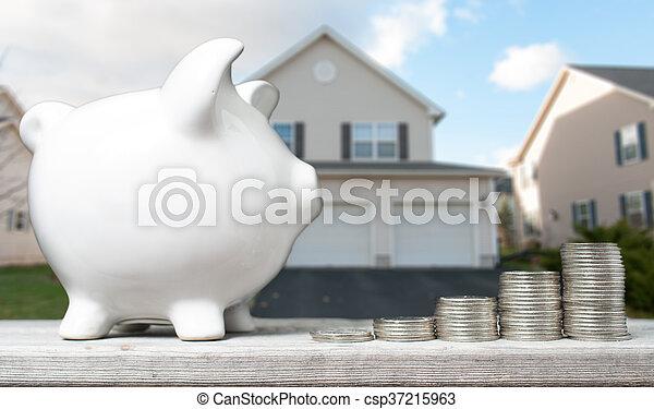 fogalom, épület, megvesz, megmentés - csp37215963