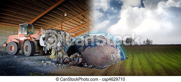 fogalom, darabka, házhely, bolygó, ökológia, ipari, földdel feltölt - csp4629710