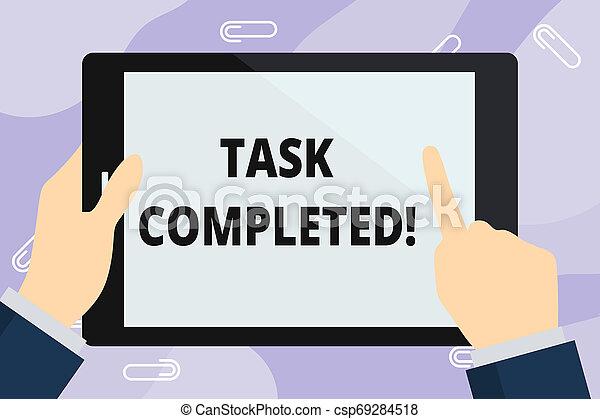 fogalom, hegyezés, szín, szöveg, tiszta, tartam, tabletta, nem, completed., írás, birtok, fehér, kap, megmaradó, screen., kéz, jelentés, megható, feladat, befejezett, derékszögű, átruházás, akció, kézírás, vagy - csp69284518