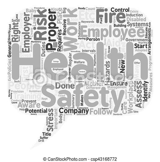 fogalom, szöveg, munka, wordcloud, biztonság, háttér, egészség - csp43168772