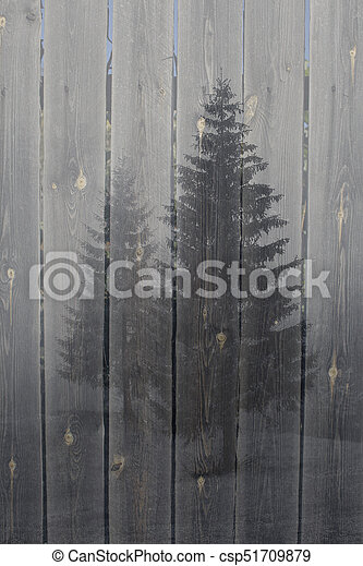 Foggy forest on a wood background - csp51709879