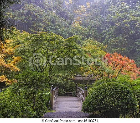 Foggy Morning in Japanese Garden - csp16193754