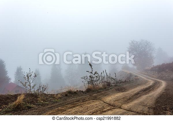 Foggy morning in Transylvania - csp21991882