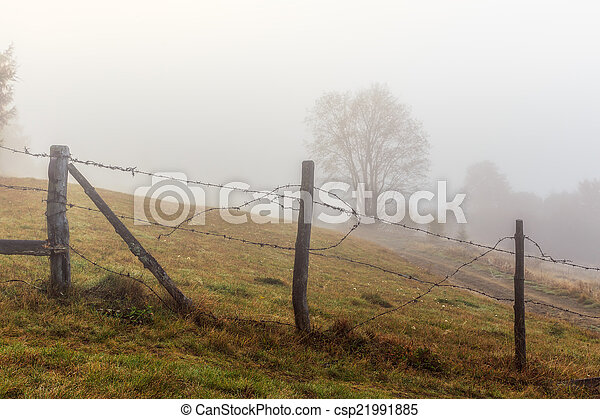 Foggy morning in Transylvania - csp21991885
