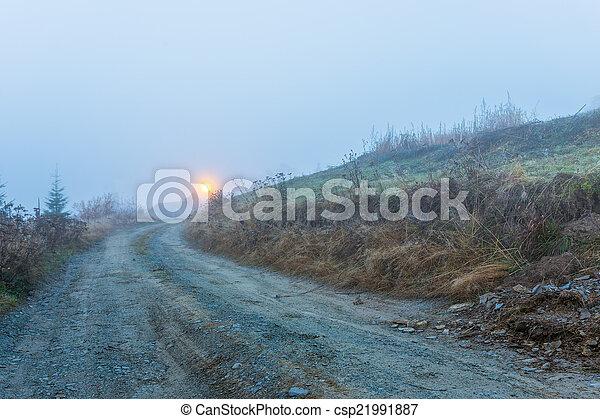 Foggy morning in Transylvania - csp21991887