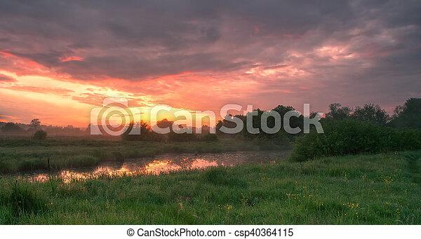Foggy morning landscape - csp40364115
